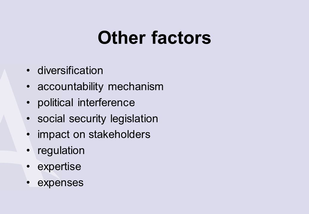 Other factors diversification accountability mechanism