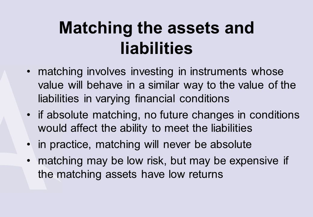 Matching the assets and liabilities