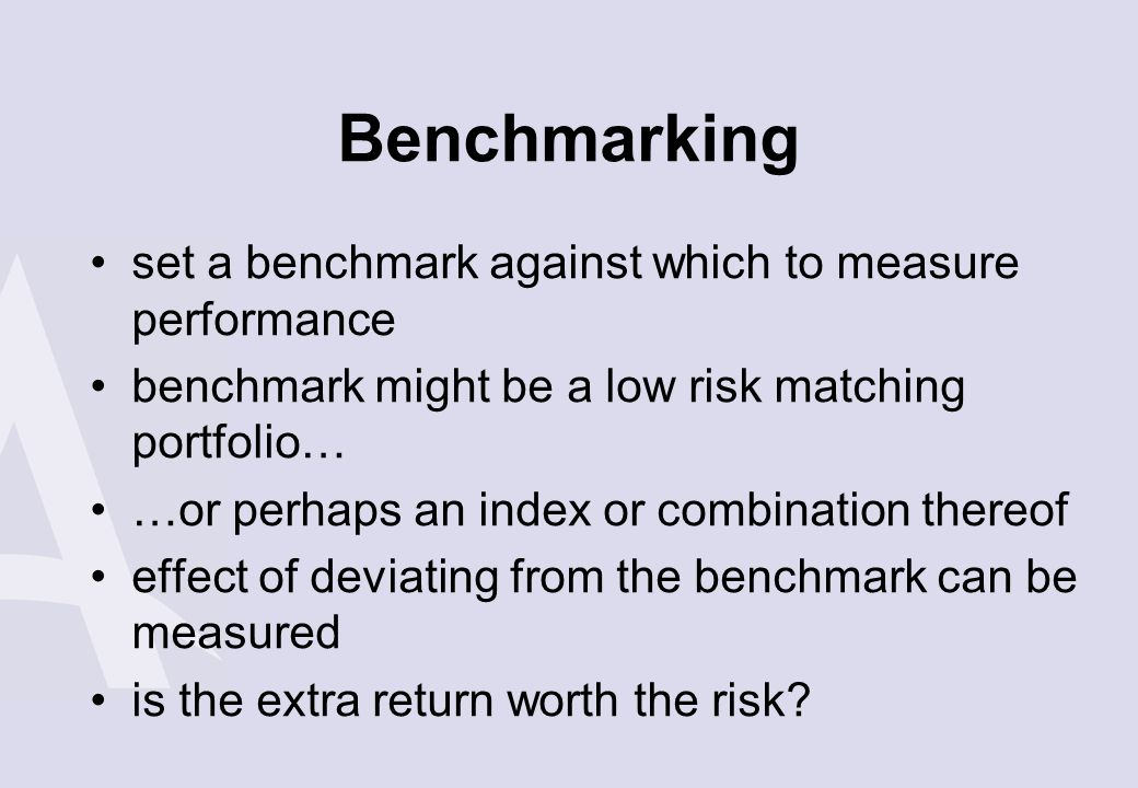 Benchmarking set a benchmark against which to measure performance
