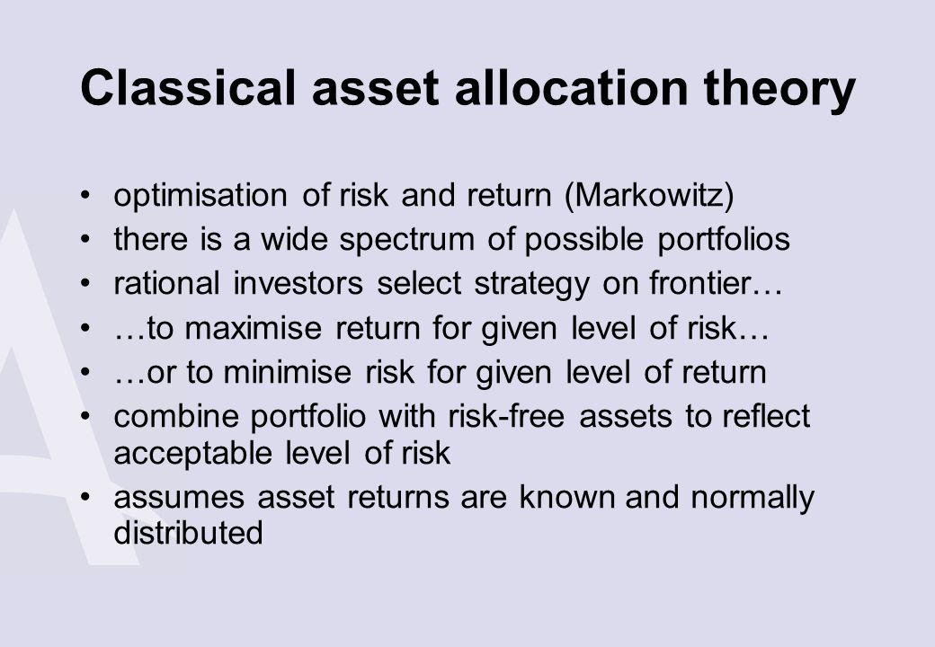 Classical asset allocation theory