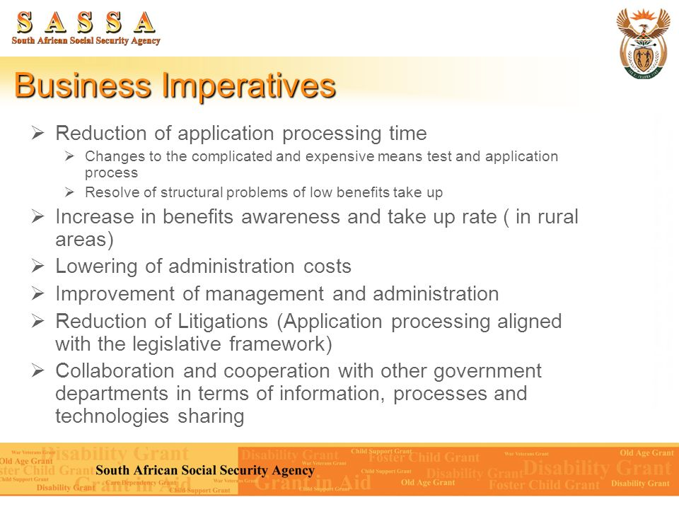 Business Imperatives Reduction of application processing time