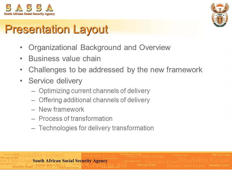 Presentation Layout Organizational Background and Overview