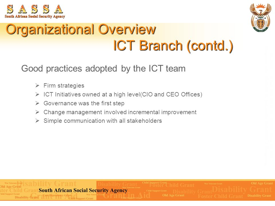 Organizational Overview ICT Branch (contd.)