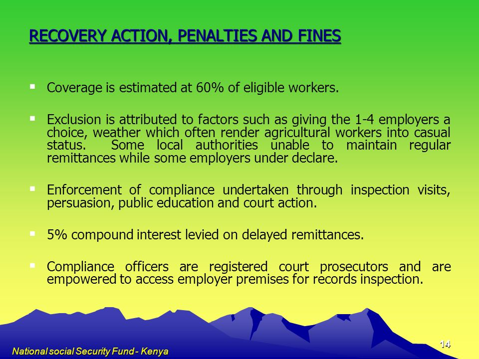 RECOVERY ACTION, PENALTIES AND FINES