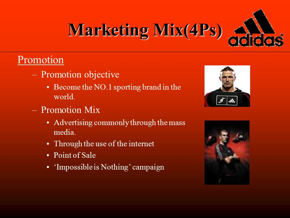 promotional mix of adidas Marketing mix of puma :  adidas and puma puma is currently based in herzogenaurach,  promotion mix it aint over, till it is over.