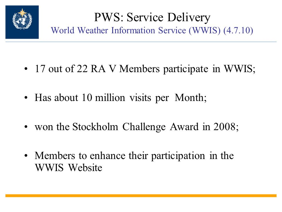 PWS: Service Delivery World Weather Information Service (WWIS) (4. 7