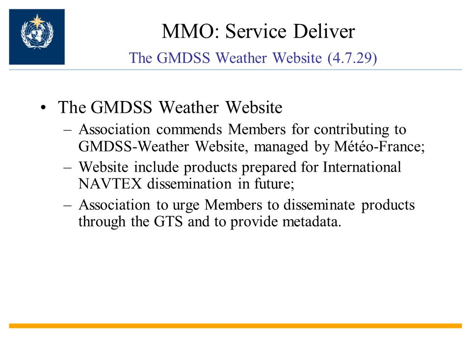MMO: Service Deliver The GMDSS Weather Website (4.7.29)