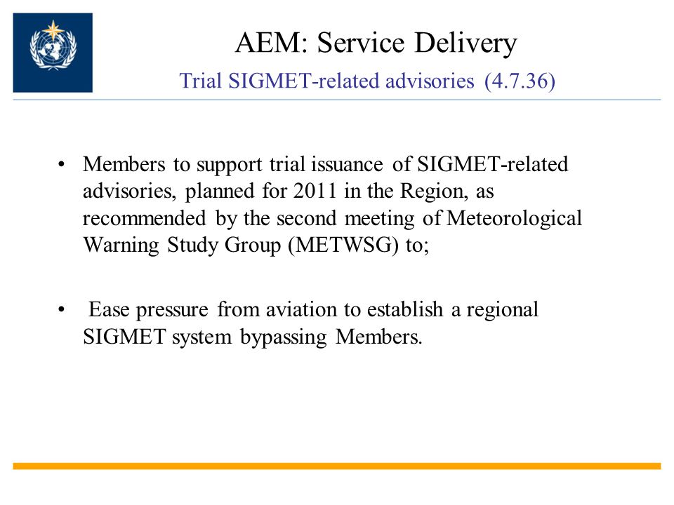AEM: Service Delivery Trial SIGMET-related advisories (4.7.36)