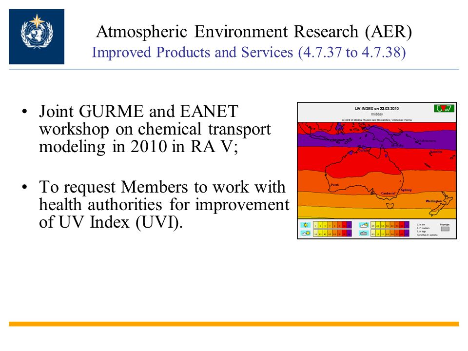 Atmospheric Environment Research (AER) Improved Products and Services (4.7.37 to 4.7.38)