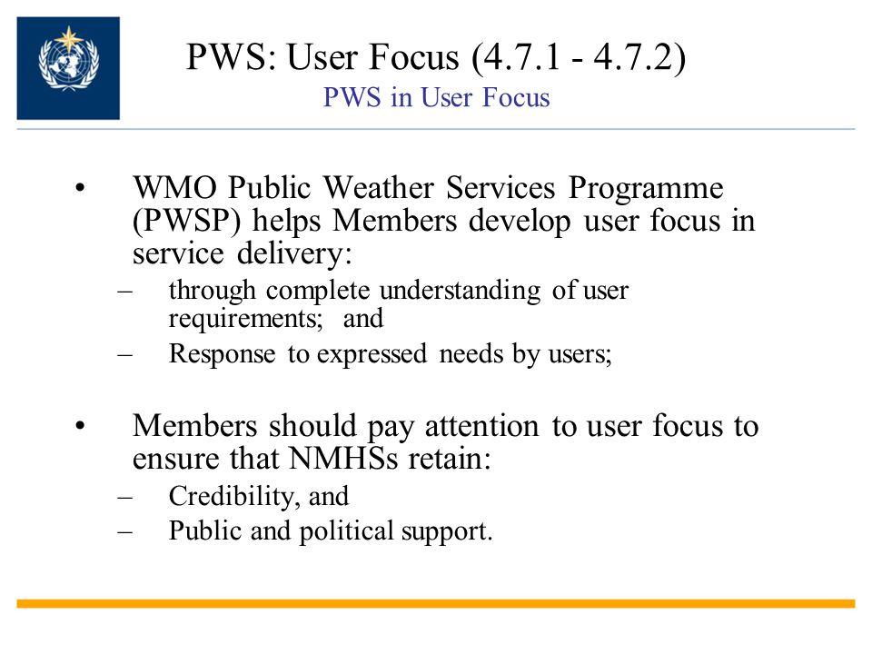 PWS: User Focus (4.7.1 - 4.7.2) PWS in User Focus