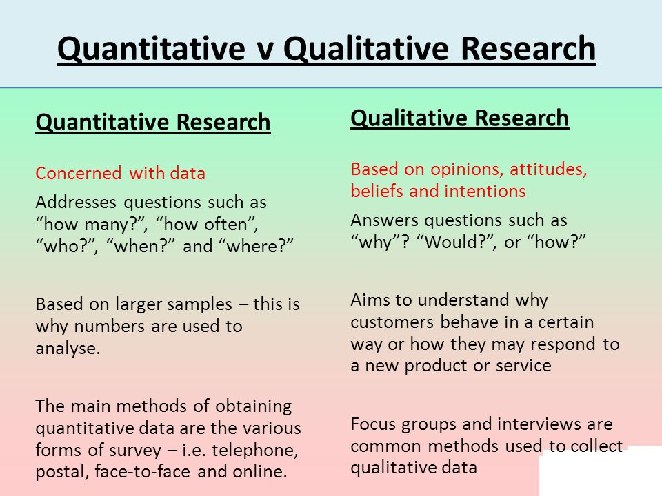 data collection for quantitative research Objectives participants will be able to demonstrate applied knowledge of : • meaning of 'qualitative methods' • uses of qualitative methods • selection, use and standards for rigor of common methods for data collection in relation to research questions and approaches.