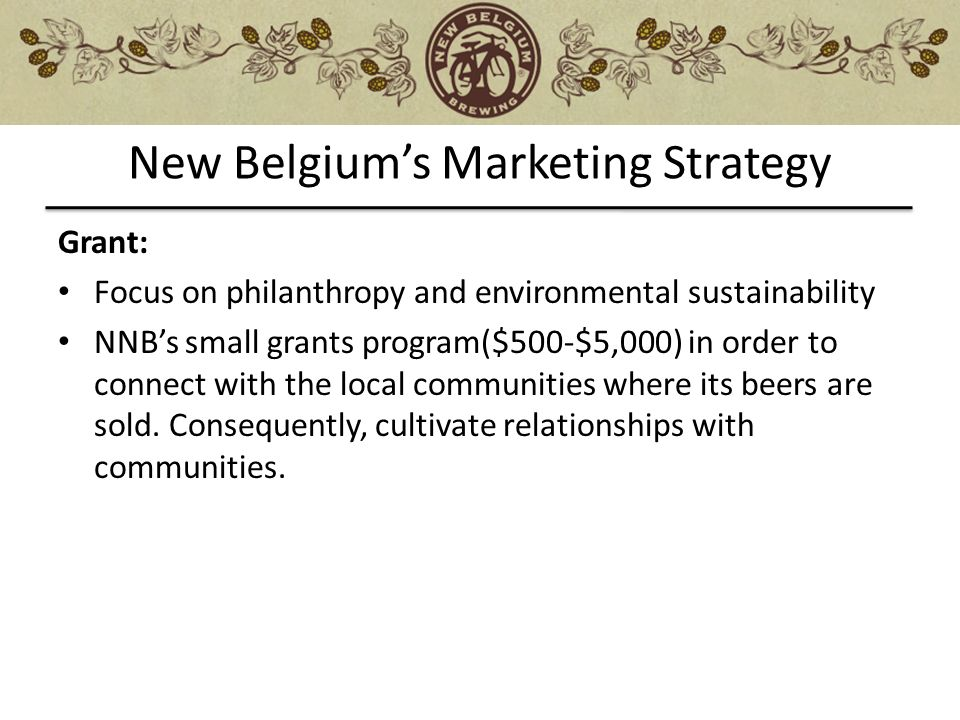 new belgium marketing analysis Using nintex workflow for sharepoint, new belgium improved the coordination and launch of new beer releases get a free trial or schedule your demo today.