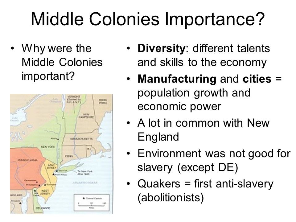 how were the new england middle and southern colonies different The middle colonies and new england were different in that new england was largely puritan, and, save for rhode island (which practiced a form of religious tolerance), the government was a kind of .