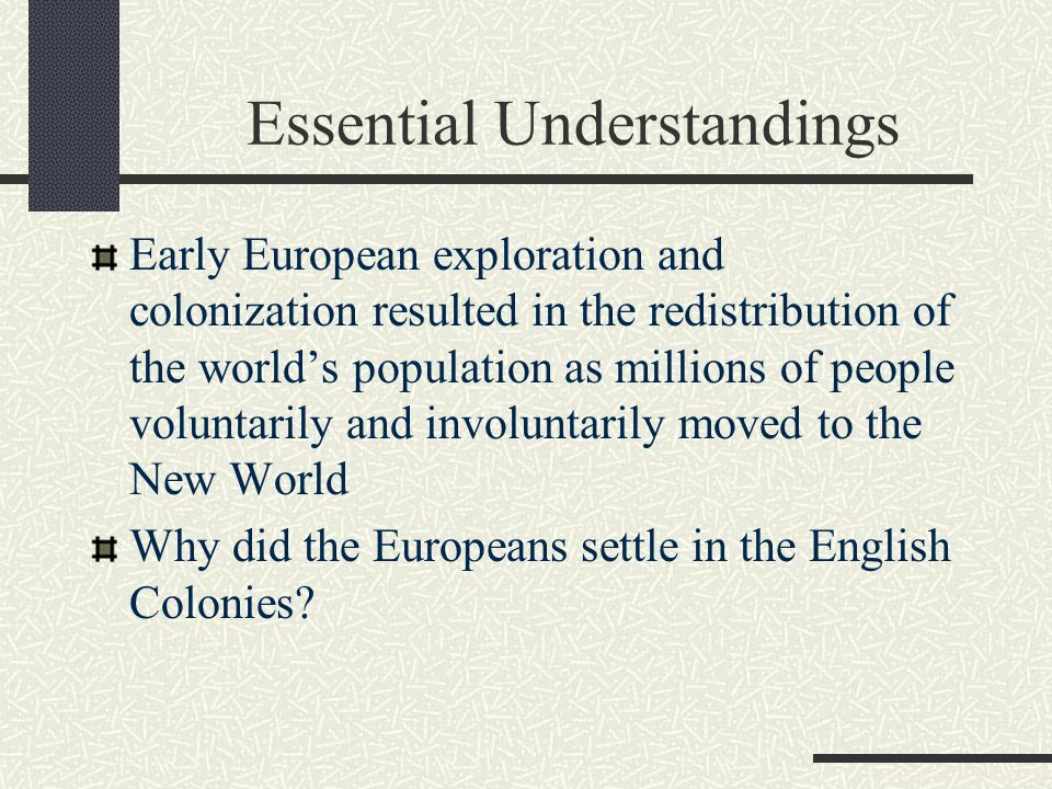 assess the reasons behind european colonization of the new world essay Motives for european colonization  new laws in europe helped with the effort in nation building the phrase 'whatever it takes' meant the world to a monarch.