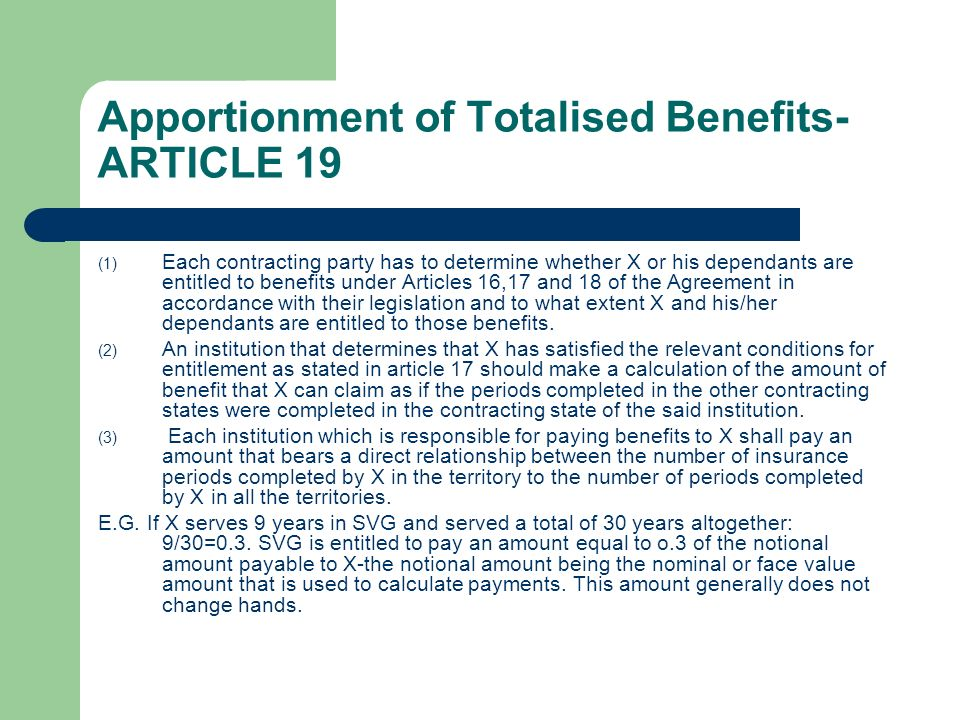 Apportionment of Totalised Benefits-ARTICLE 19