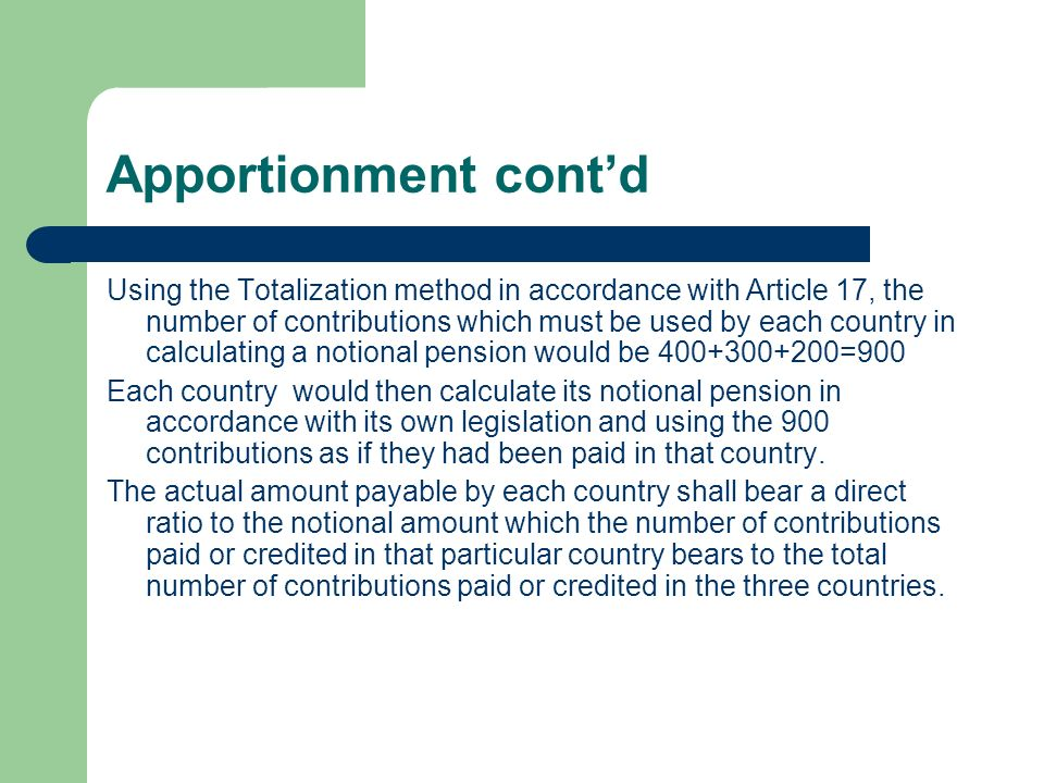 Apportionment cont'd