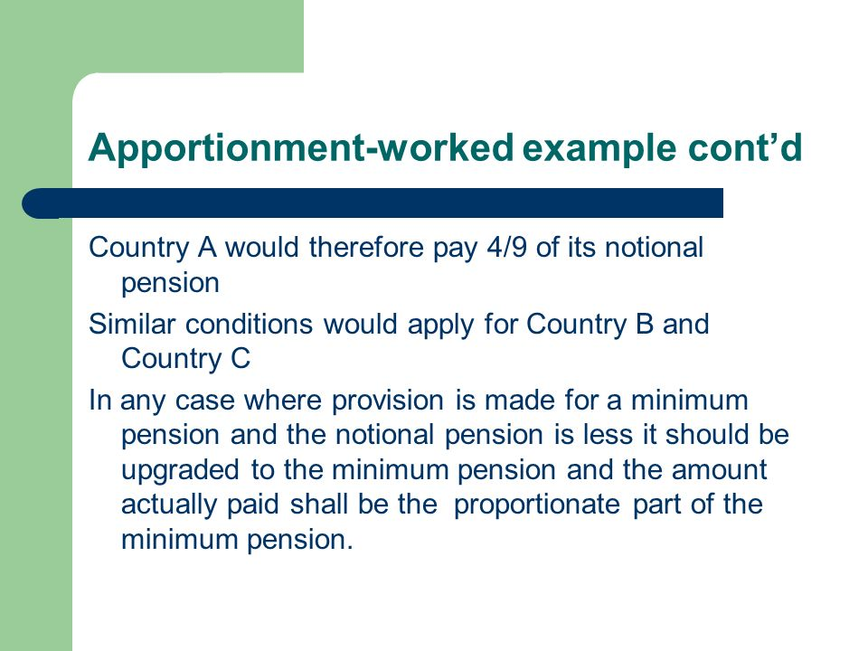 Apportionment-worked example cont'd