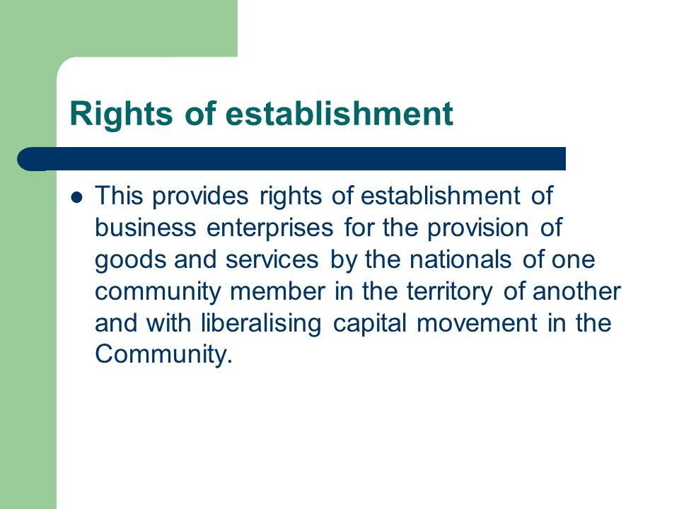 Rights of establishment