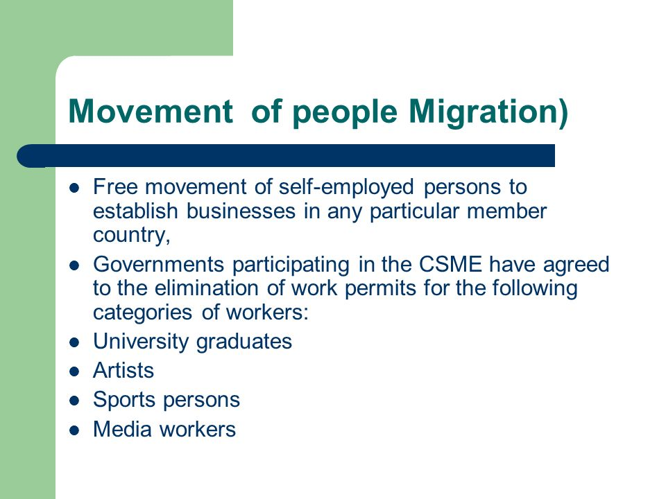 Movement of people Migration)