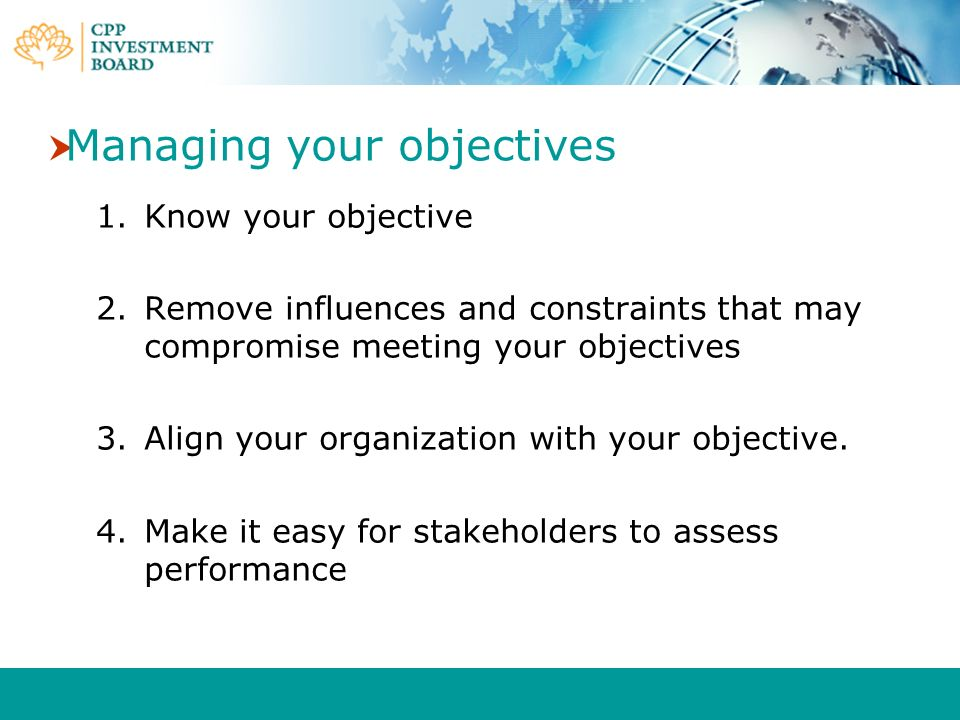 Managing your objectives