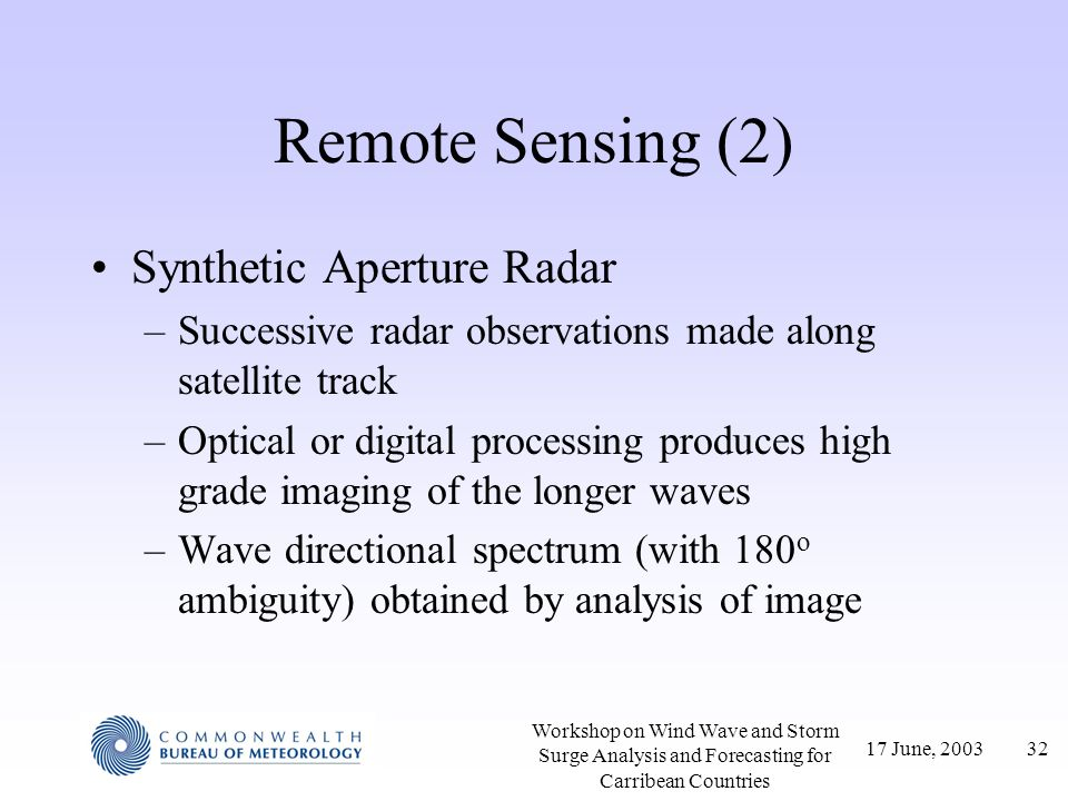 Remote Sensing (2) Synthetic Aperture Radar
