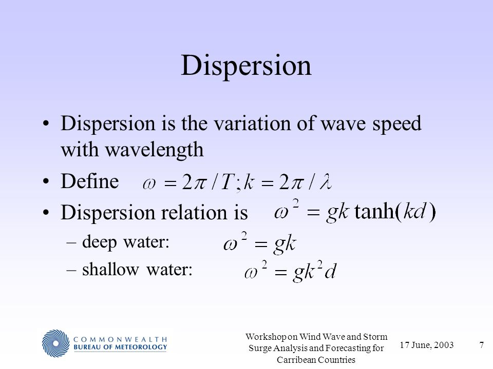 Dispersion Dispersion is the variation of wave speed with wavelength