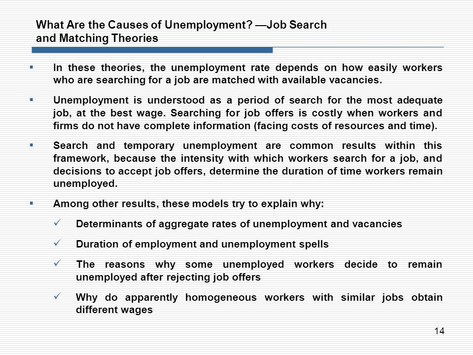 What Are the Causes of Unemployment —Job Search and Matching Theories