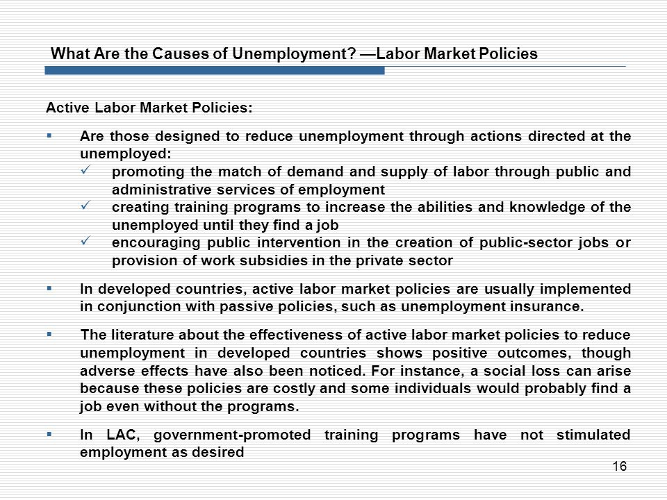 What Are the Causes of Unemployment —Labor Market Policies
