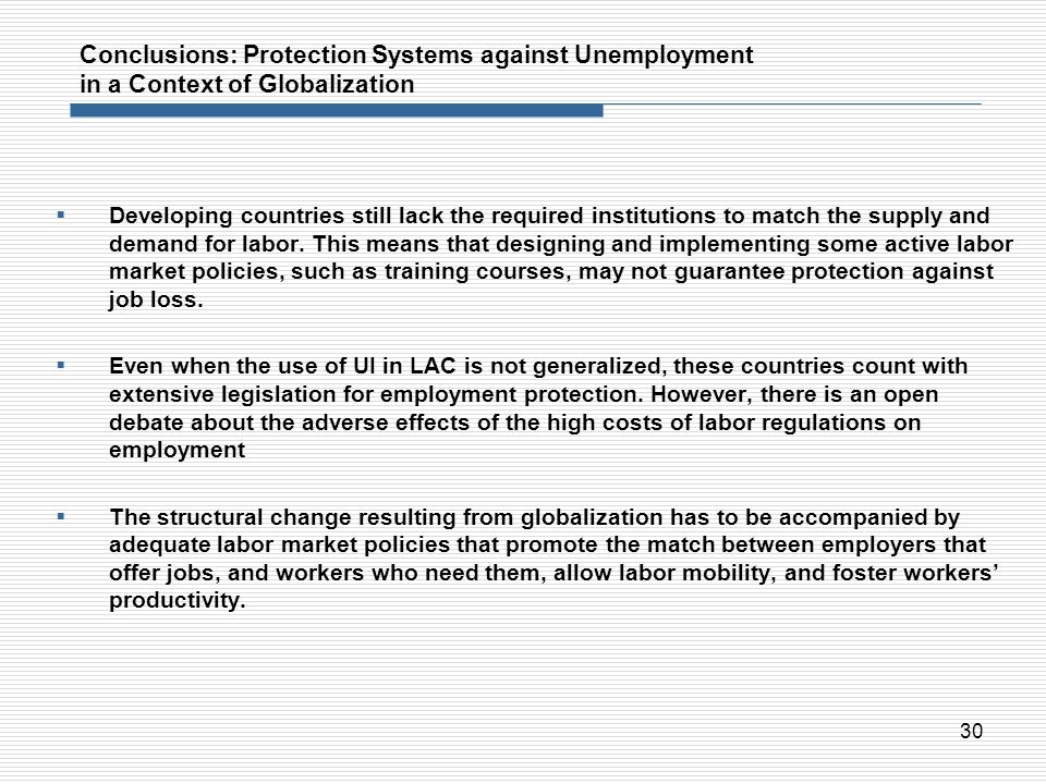 Conclusions: Protection Systems against Unemployment in a Context of Globalization