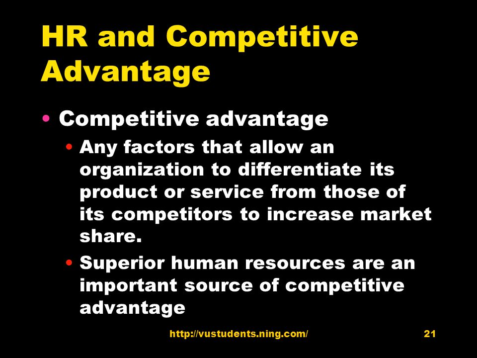 human resources competitive advantage Free essay: summary human resource management chapters 1,2,4,5,6,16 chapter 1: gaining a competitive advantage  competiveness ability to maintain share in.