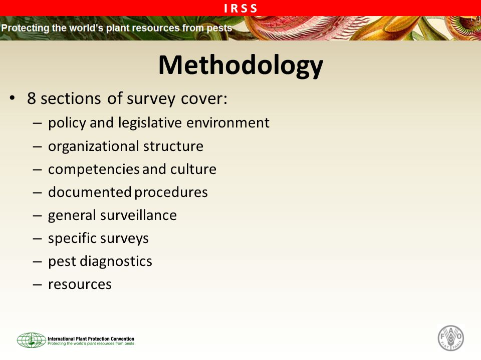 Methodology 8 sections of survey cover: