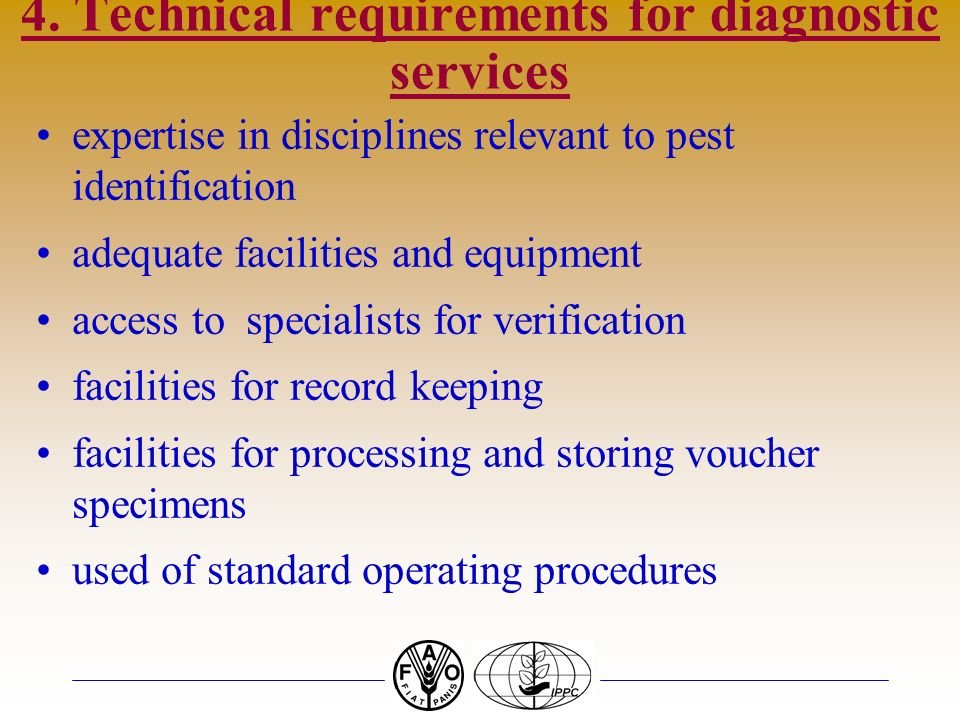 4. Technical requirements for diagnostic services