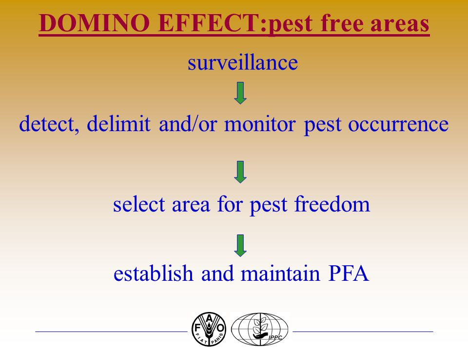 DOMINO EFFECT:pest free areas