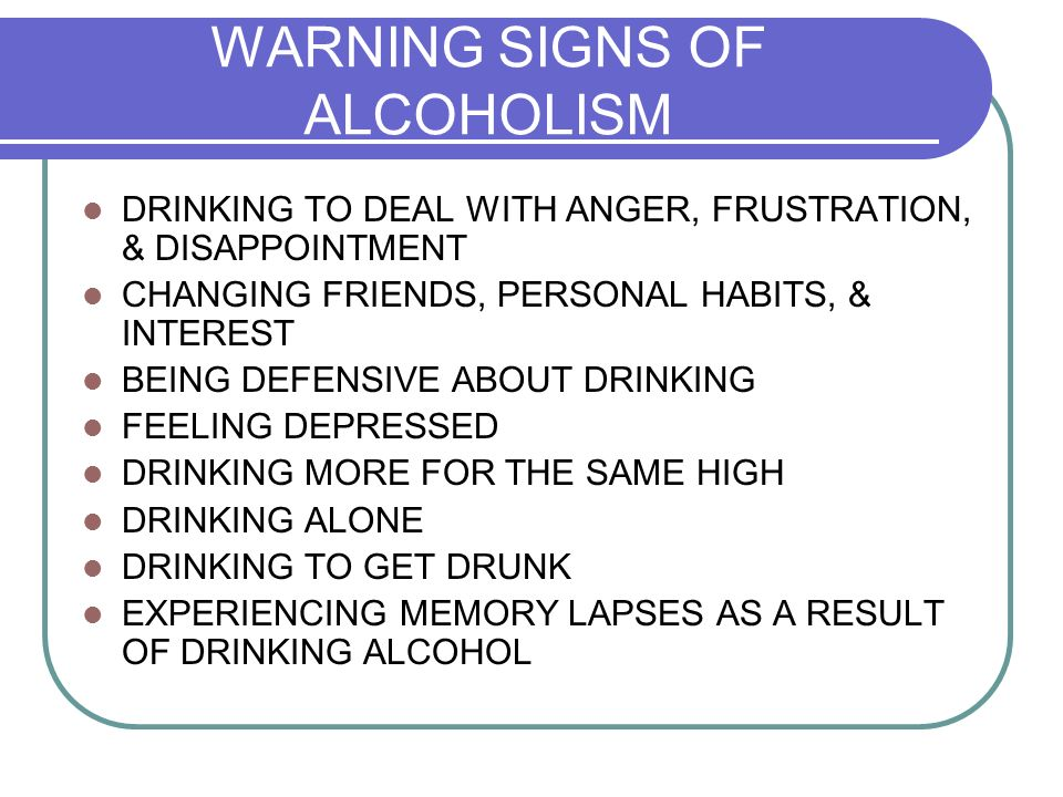 signs and symptoms of alcoholism pdf