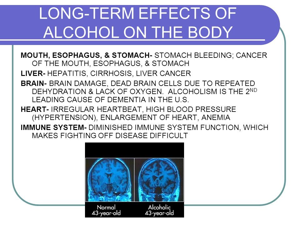long term effects of alcohol Alcohol's effects on the body drinking too much – on a single occasion or over time – can take a serious toll on your health  drinking a lot over a long time or too much on a single occasion can damage the heart, causing problems including: cardiomyopathy – stretching and drooping of heart muscle.