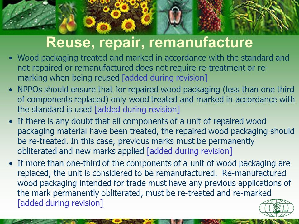 Reuse, repair, remanufacture