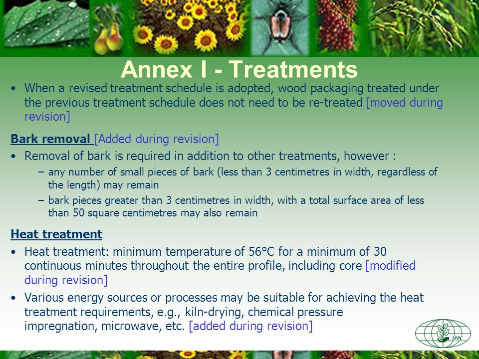 Annex I - Treatments