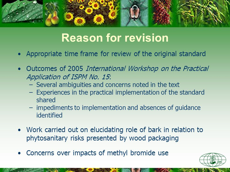Reason for revision Appropriate time frame for review of the original standard.