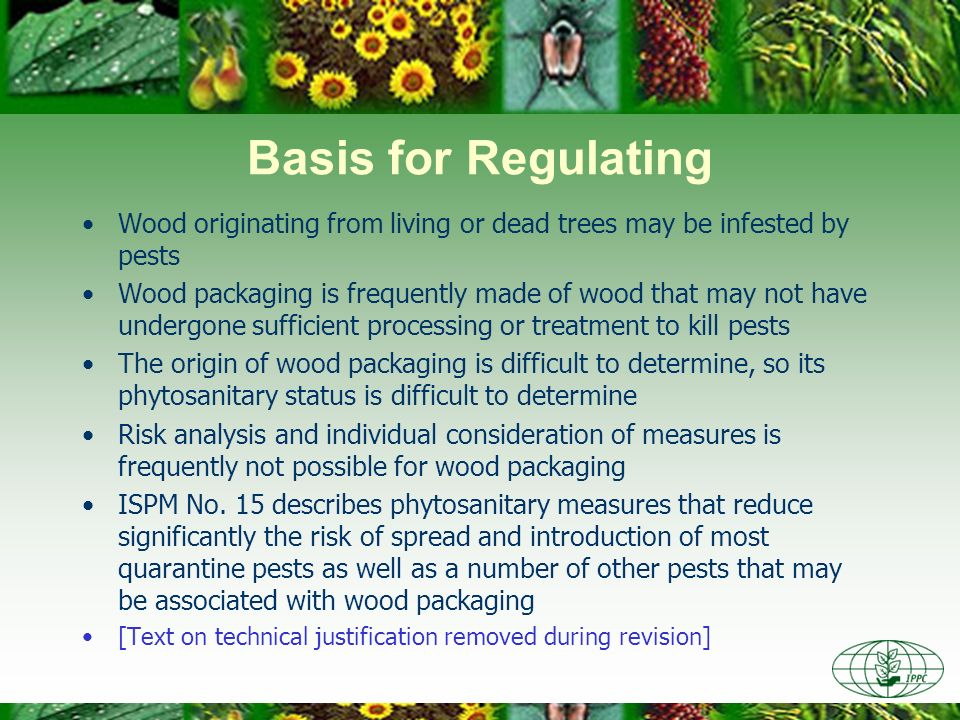 Basis for Regulating Wood originating from living or dead trees may be infested by pests.