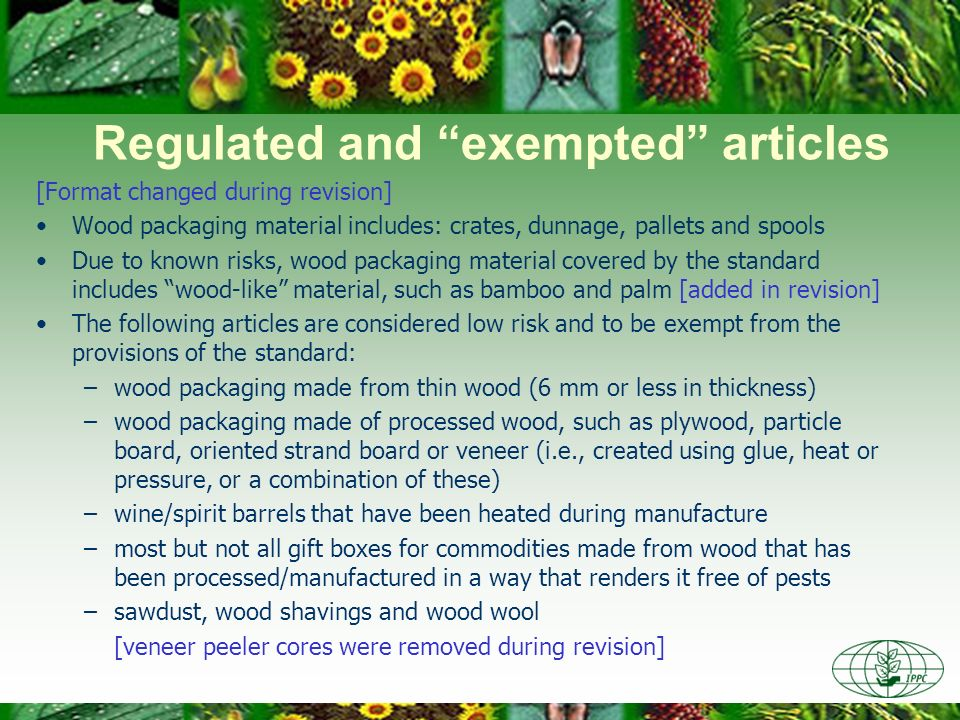 Regulated and exempted articles