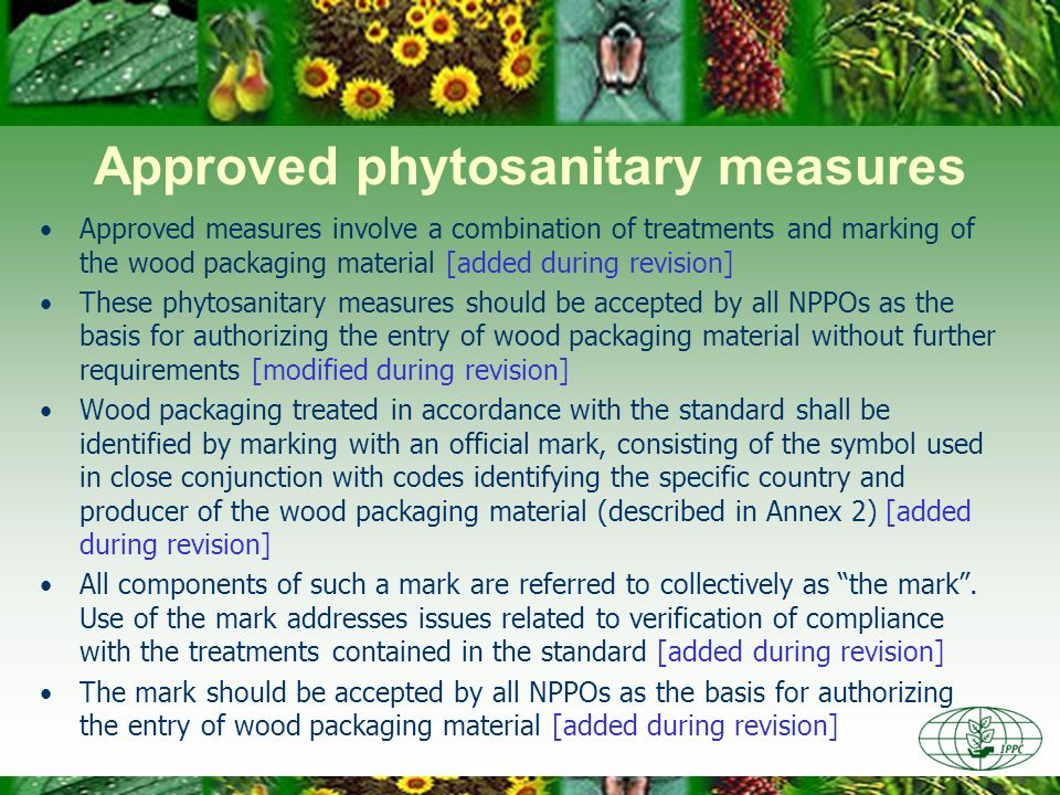 Approved phytosanitary measures