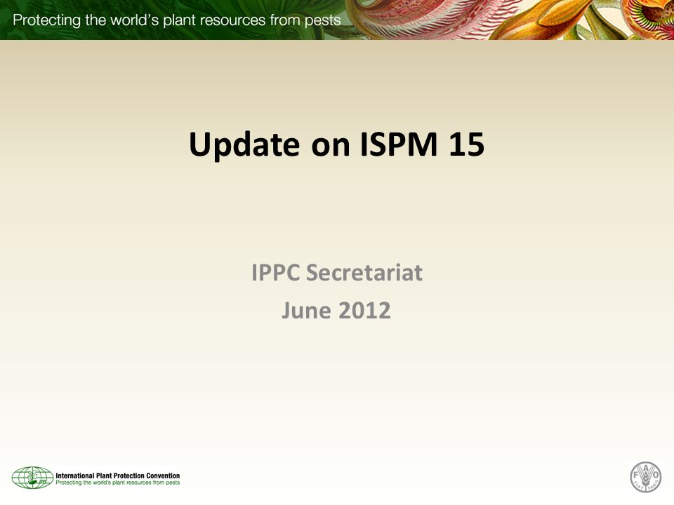 Update on ISPM 15 IPPC Secretariat June 2012