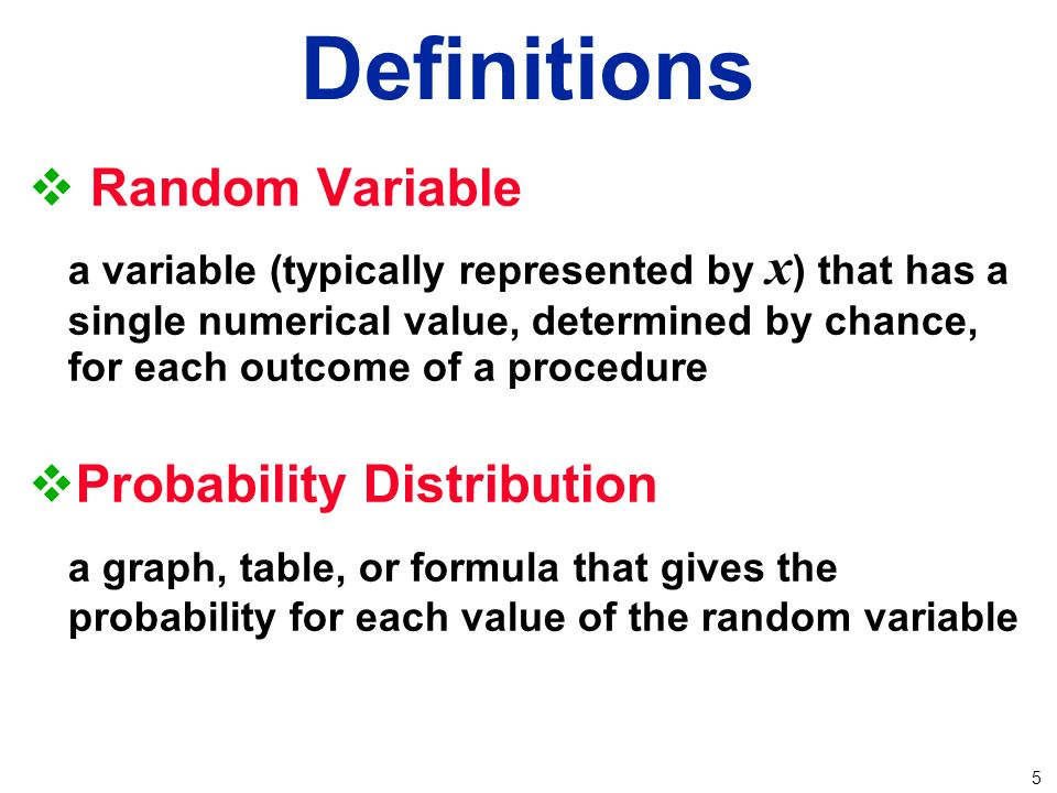 Construction of a probability distribution for a random variable