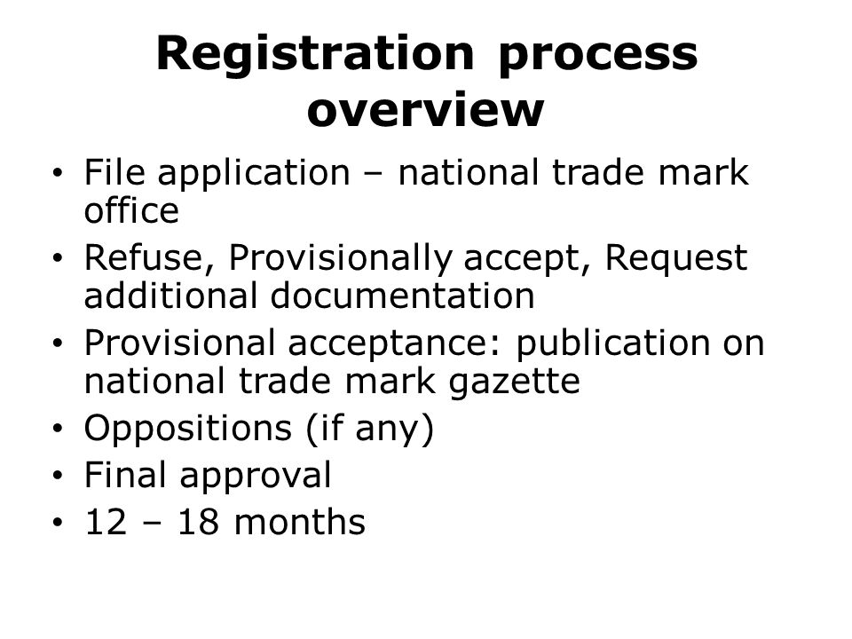 Registration process overview