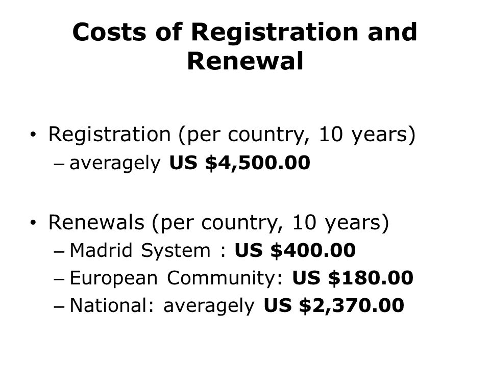 Costs of Registration and Renewal