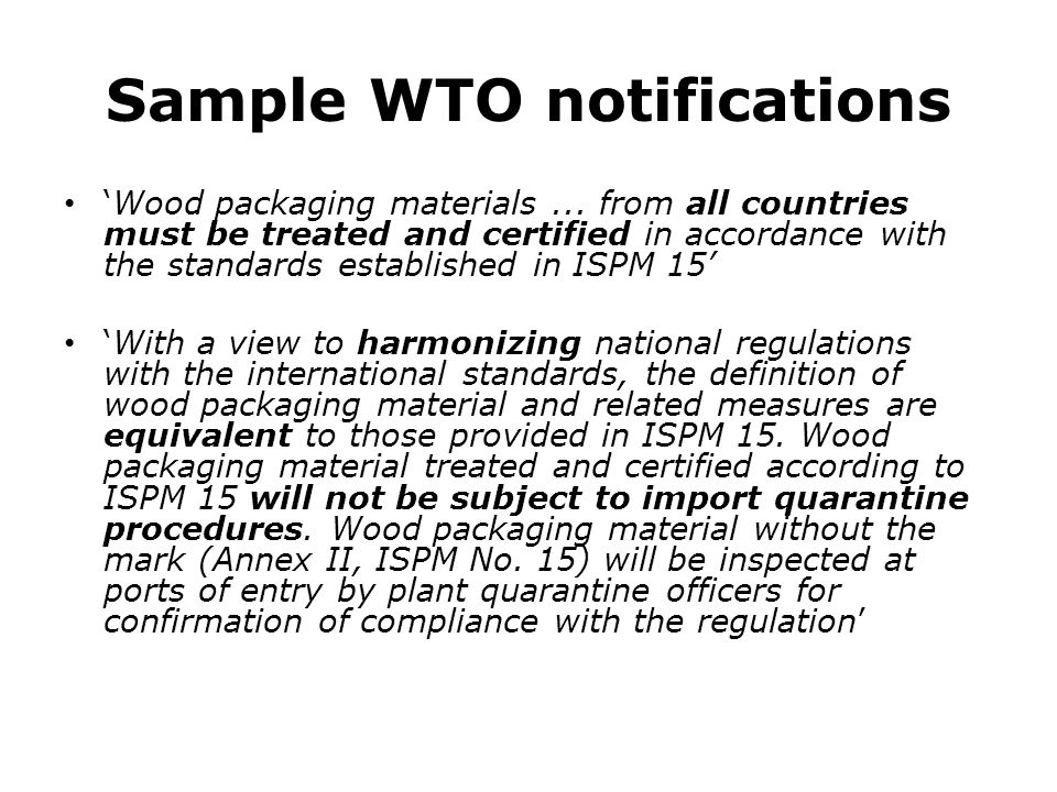 Sample WTO notifications