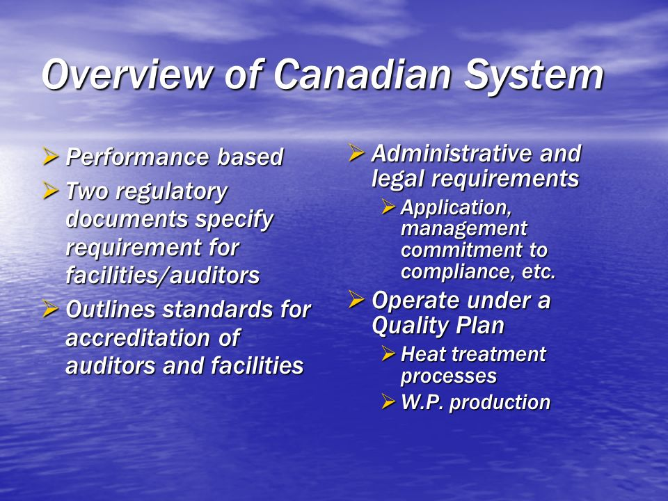 Overview of Canadian System