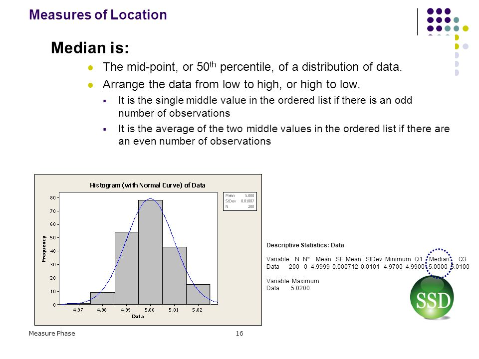 Median is: Measures of Location