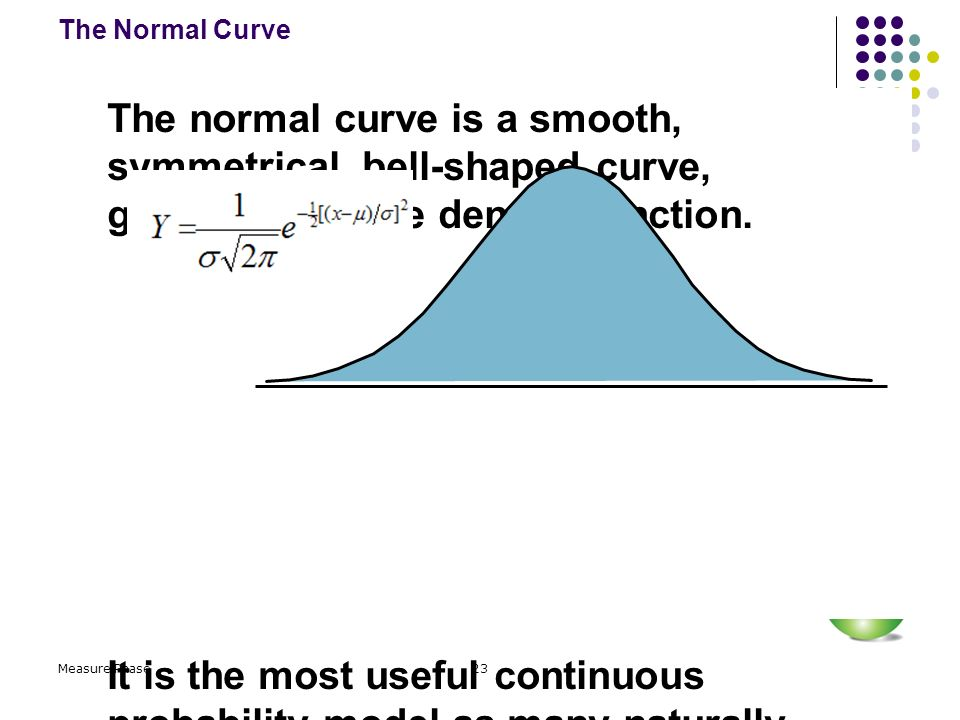 The Normal Curve The normal curve is a smooth, symmetrical, bell-shaped curve, generated by the density function.