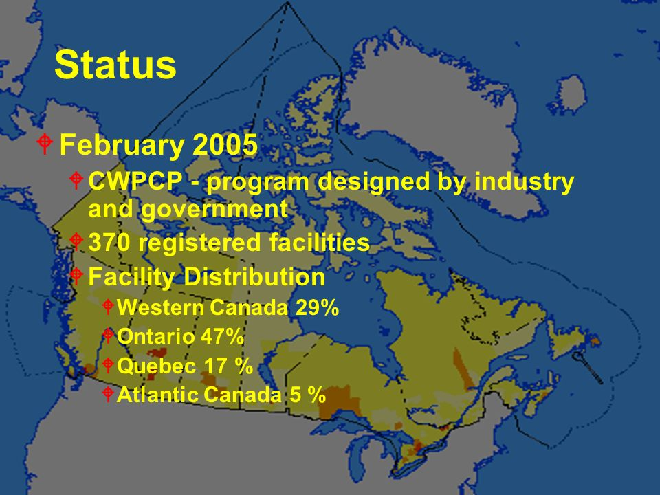Status February 2005. CWPCP - program designed by industry and government. 370 registered facilities.